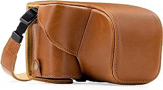 MegaGear MG408 Sony Alpha A6300 A6000 (16-50 mm) Estuche Ever Ready Funda de cuero de pronto uso con correa - Marrón claro