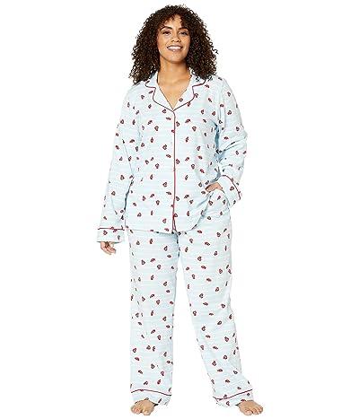 BedHead Pajamas Plus Size Long Sleeve Classic Notch Collar Pajama Set (Walk The Line) Women