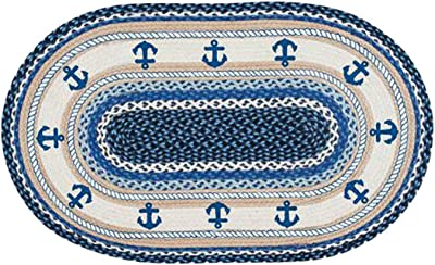 "Earth Rugs Rug, 88-2745-443A, Jute, Blue, 27""x45"""