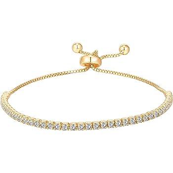 PAVOI 14K Gold Plated Cubic Zirconia Classic Tennis Bracelet for Women | Adjustable Slider