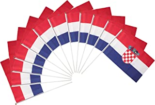 Croatia Polyester Country Flags Desk Outside Waving Parade Croatian (12-Pack Hand Flag)
