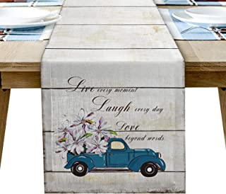 YOKOU Dining Table Runner, Vintage Blue Truck with White Magnolia Flower Plank Painting Beige Long Anti-Skid Burlap Tablet...