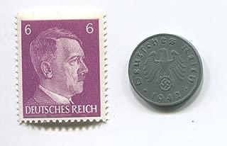 Rare Nazi Swastika 1 Reichspfennig German Coin World War Two WW2 with Purple Hitler Head Stamp MNH