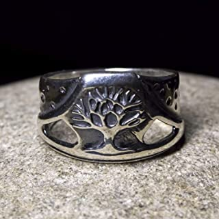 Sterling Silver Tree of Life Ring Yggdrasil Celtic Family Tree Viking Motif Rings Pagan Wiccan Druid Norse Jewelry for Men Women Black Silver Vintage Style Handmade