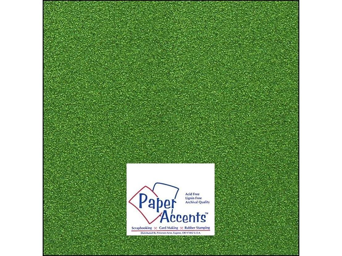 Accent Design Paper Accents Cdstk Glitter 12x12 85# Kiwi Green