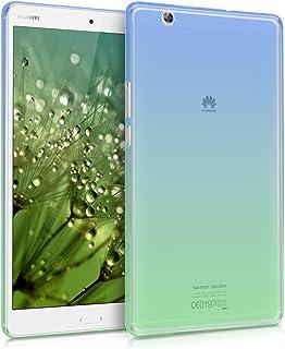 حافظة سيليكون من kwmobile TPU متوافقة مع Huawei MediaPad M3 8.4 - غطاء ناعم مرن ماص للصدمات - ثنائي اللون أزرق/أخضر/شفاف