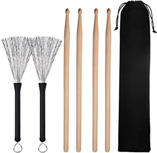 Pangda 2 Pair 5A Drum Sticks Classic Maple Wood Drumsticks Sets and 1 Pair Drum Wire Brushes Retractable Drum Sticks Brush with 1 Storage Bag