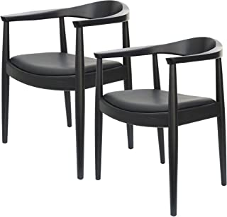 2脚セット ハンスウェグナー 北欧 デザイン The Chair ザ・チェア フィンガージョイント 北米産 アッシュ材 艶なし マット ブラウン 人気 デザイナーズ リプロダクト (ブラック)