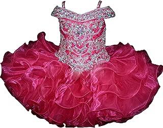 Baby Girls Sheer Neck Crystal Infant Mini Cupcake Pageant Skirt Dresses