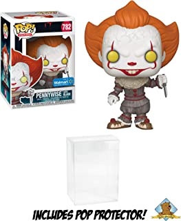 IT Chapter Two Pennywise with Blade Walmart Exclusive Vinyl Figure Featuring Golden Groundhog Plastic Protector Bundle