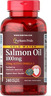 Puritans Pride Omega-3 Salmon Oil(210 Mg Active Omega-3), 1.1000 Mg, 240 Count