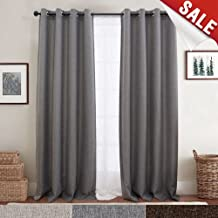 jinchan Curtains for Bedroom Linen Textured Window Curtain Panels for Living Room Darkening Drapes Grommet Top One Panel L 84
