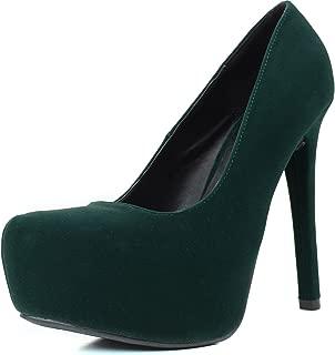 Women's Marquise06 Velvet Almond Toe Platform Stiletto Pump