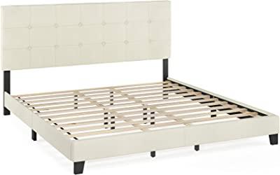FURINNO Laval Button Tufted Upholstered Platform Bed - King (Linen),FB17020K-LN