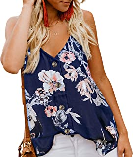 Angerella Women's V Neck Sleeveless Sexy Blouse Botton...