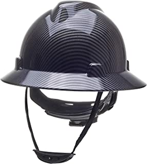 Full Brim Hard Hat Safety Helmet 6 Point Ratcheting System | Meets ANSI Z89.1 | Personal Protective Equipment Carbon Fiber Design