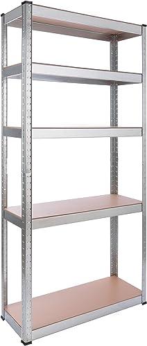 Arebos Étagère Charge Lourde Rangement Objets Lourds | 80 x 30 x 170 cm | 350 kg | 5 étagères