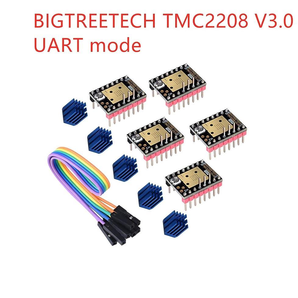 博物館アナロジー平日3Dman TMC2208 V3.0(UART)3Dプリンター部品用MKS GEN/GEN L/SKR/Ramps 1.4コントロールボードに適した、新しくアップグレードされたサイレントステッピングモーターStepStickミュートドライバー(5個入り)
