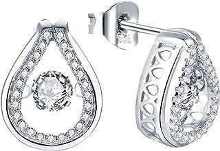 YL Teardrop Stud Earrings 925 Sterling Silver Dancing Diamond Halo Earrings 1.42ct Created Emerald/Ruby/Sapphire/Zirconia ...