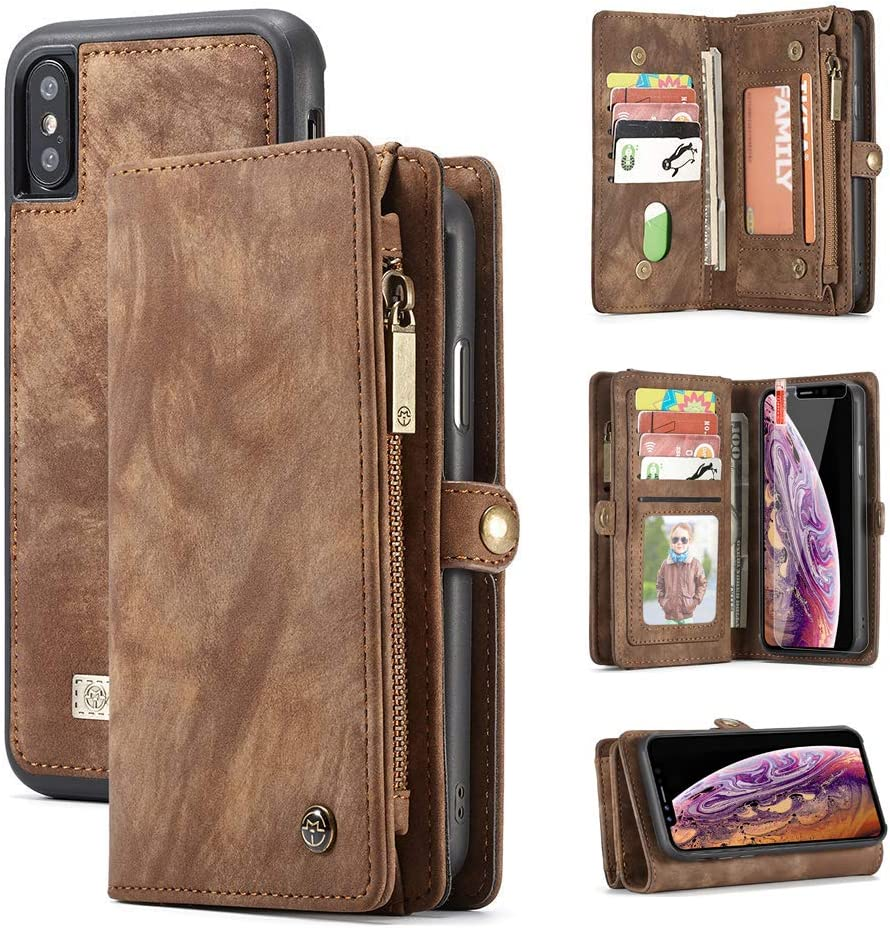 iPhone Xs Max Wallet Case,Zttopo 2 in 1 Leather Zipper Detachable Magnetic 11 Card Slots Card Slots Money Pocket Clutch Cover with Screen Protector for 6.5 Inch iPhone Case -Brown