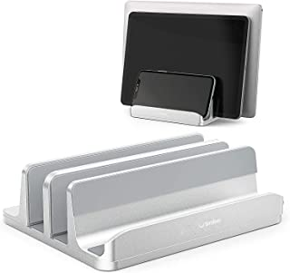 """Smilee Vertical Laptop Stand, 3 Slots for Laptop, Tablet, Phone - Fits All Laptop Models (up to 17.3"""") - Heavy Duty Polish..."""