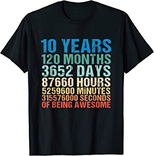 10 Years Old 10th Birthday Vintage Retro 120 Months T-Shirt