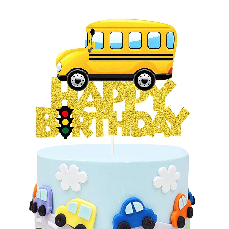 Glitter School Max 46% OFF Bus Cake Topper Ranking TOP2 Theme Birthday Decor Happy