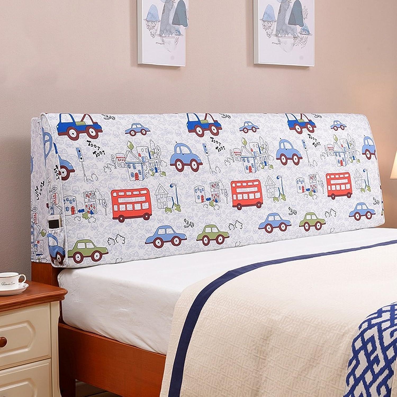 D_HOME Coussin de lit d'enfant Soft Case Dossier Pad Oreiller Art en Tissu sans Couvre-lit Lavable (Couleur    2, Taille   150  55cm(Bedside))