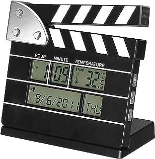 Clapper Board Digital Alarm Clock, Movie Clock, Vintage Retro Movie Clock, Temperature Displays Calendar Date Time Reminde...