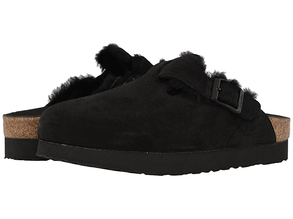 Birkenstock Boston (Black Suede/Shearling) Women