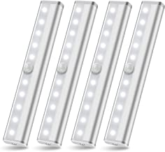 Wireless Under Cabinet Lighting LED Motion Sensor Light Battery Operated Closet Lights SZOKLED Under Counter Light Cupboard Kitchen lighting, Stick On Night Lights Strip Bar for Stairs, White 4 Pack