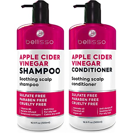 BELLISSO Apple Cider Vinegar Shampoo and Conditioner Set - Sulfate and Paraben Free Anti Dandruff Soothing Scalp Treatment with Biotin, Keratin, Avocado, Coconut, Argan Oil, Men and Women, 2 x16 Fl Oz