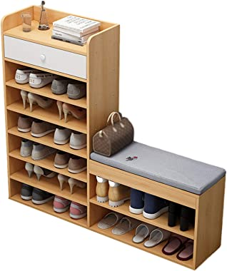 Shoe Storage Bench, 7 Tier Wooden Shoe Rack, Shoe Storage Cabinet with Soft Seat Cushion, Ideal for Entryway Hallway Living R