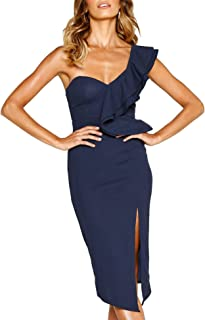17838c4d7056 Murimia Womens Dresses Summer Off The Shoulder Ruffle Floral Print Bodycon  Midi Dress