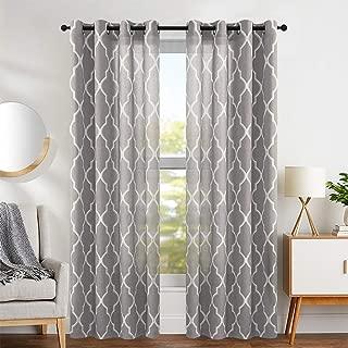jinchan Moroccan Tile Design Linen Curtain Textured Lattice Curtain Grommet Top Window Panels Drapes for Bedroom Living Room Window Patio Door Set of 2 Panels 108