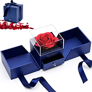 Red Rose Jewelry Gift Box, Rose Handmade Preserved Fake Rose, Never Withered Roses Eternal Flower for Women,Wife, Girlfriend on Valentine's Day, Birthday, Mother's Day