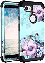 Casetego Compatible Google Pixel 3a XL Case,Floral Three Layer Heavy Duty Hybrid Sturdy Armor Shockproof Full Body Protective Cover Case for Google Pixel 3a XL,Blue Flower
