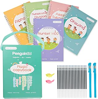 Magic Practice Copybook for Kids Ages 3-8 - 5-Pack Reusable Copybook with Magic Pen and Ink Refill - Disappearing Ink Hand...