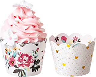 Reversible Cupcake Wrappers (Flower and Gold Heart Polka Dot, 36PCS/Pack), Size Adjustable Cupcake Sleeve for Wedding Anniversary Decor, Baby Shower for Girl, Pink and Gold Birthday Party Decoration