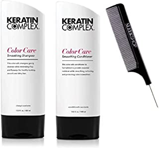 (400ml - ORIGINAL DUO KIT) - Keratin Complex colour CARE Smoothing Shampoo & Conditioner DUO SET (w/Sleek Comb) Frizz-Figh...