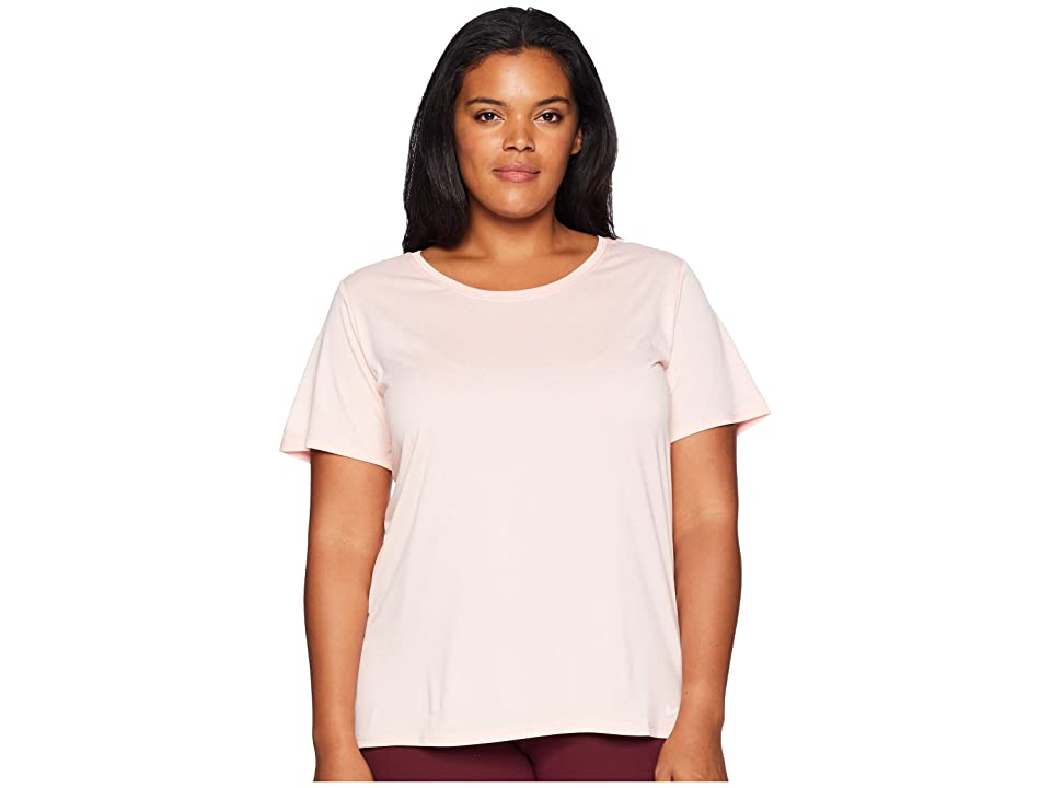 Nike Dry Training Top (Size 1X-3X) (Storm Pink/White/White) Women