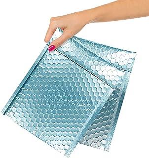ABC 10 Pack Ice Blue Bubble mailers 9.5 x 13.5 Metallic Padded Envelopes 9 1/2 x 13 1/2 Blue Cushion Envelopes Peel and Se...