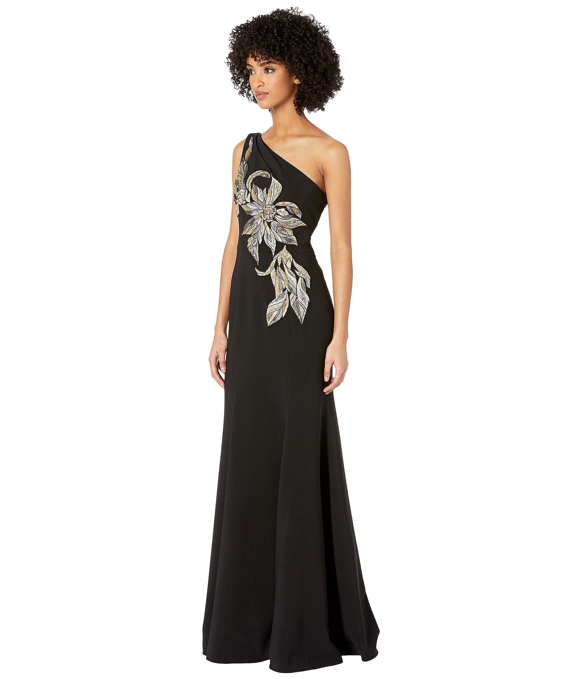 0050cabdb9 Marchesa Notte One Shoulder Stretch Crepe Gown with Beaded Embroidered  Appliques