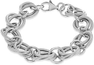 Tuscany Silver 镀金纹理环形手链 OF 21cm