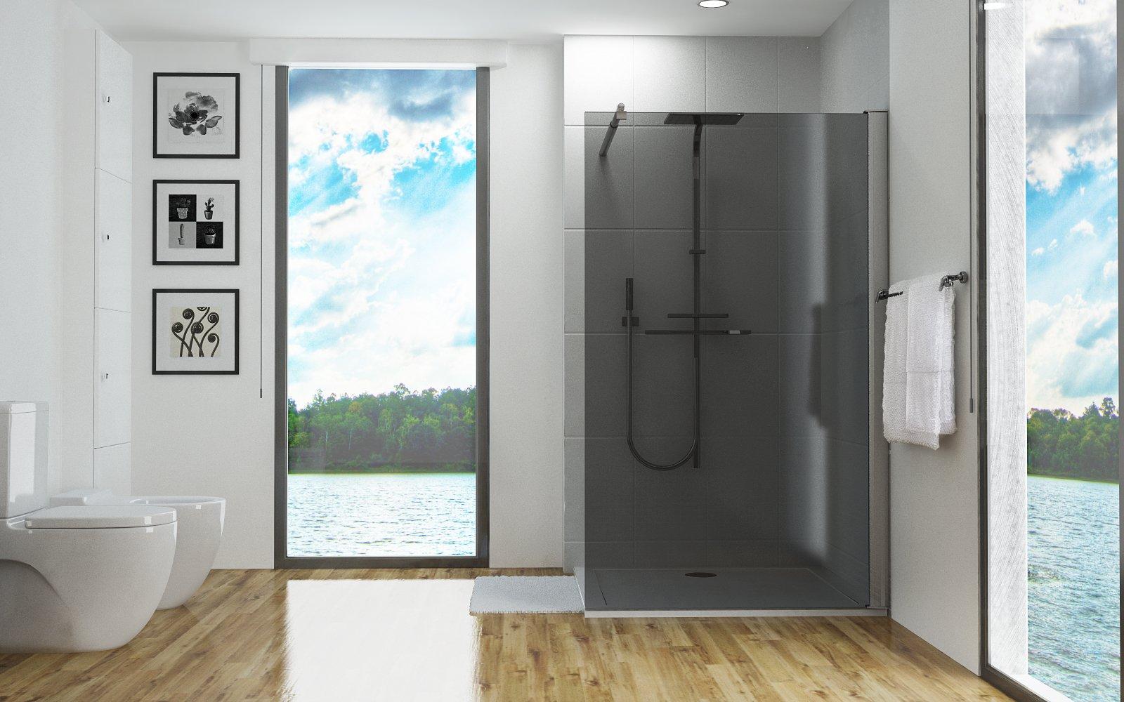 Mampara de ducha, 8 mm, cristal gris, vidrio templado, nanosellado ...