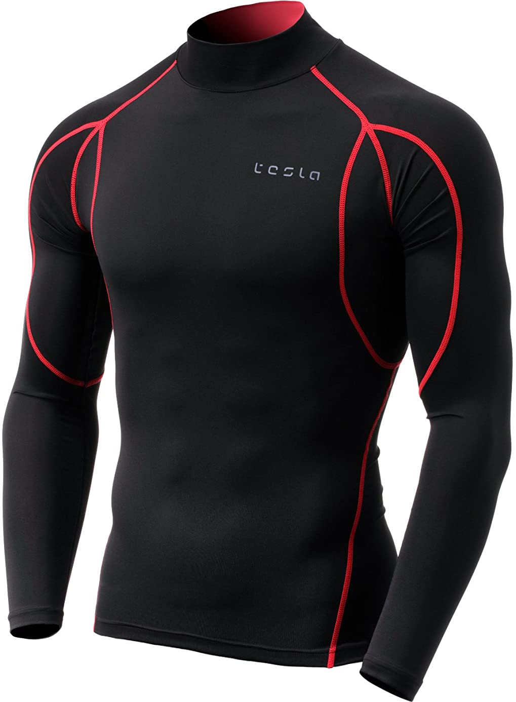 TSLA Men's Mock Long-Sleeved T-Shirt Cool Dry Compression Baselayer Top