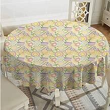 ScottDecor Reusable Round Tablecloth Abstract Ornamental Zentangle Pattern Floral Arrangement Cultures Yellow Pink Baby Blue Tassel Tablecloth Diameter 36