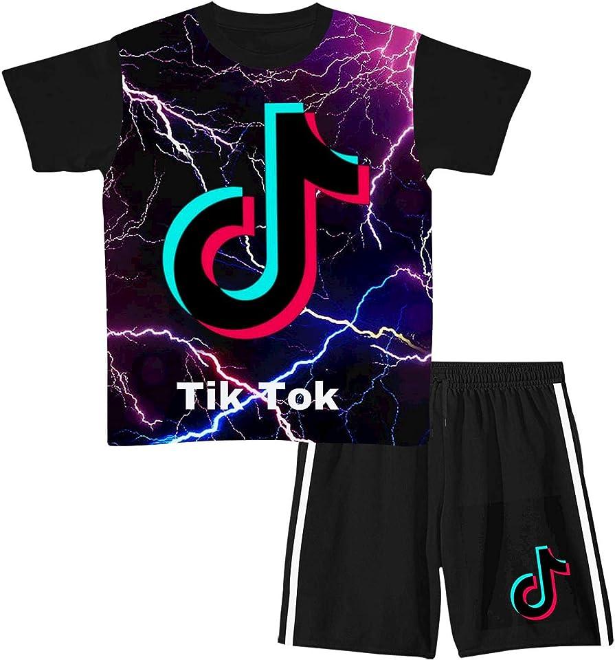 TIK-Tok Jungen Mädchen Kurzarm T-Shirt & Shorts Sets Outfit Shorts Anzug Sommer 2 Stück Shorts Set für Jungen Mädchen