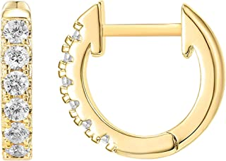 PAVOI 14K Gold Plated Mid Size Cubic Zirconia Cuff Earrings Huggie Stud