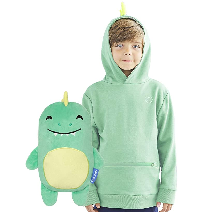 CUBCOATS Dayo The Dinosaur - 2-in-1 Transforming Hoodie & Soft Plushie - Green